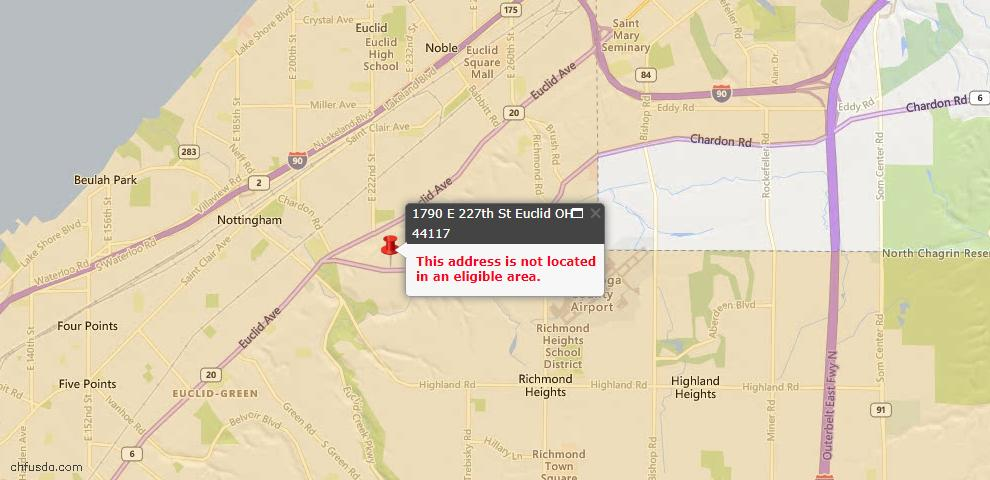 USDA Loan Eligiblity Map - 1790 E 227th St, Euclid, OH 44117