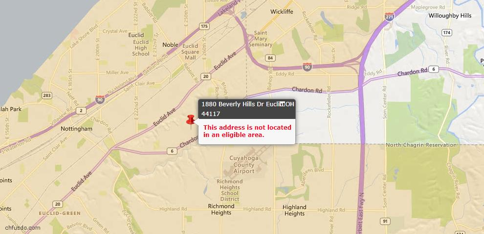 USDA Loan Eligiblity Map - 1880 Beverly Hills Dr, Euclid, OH 44117