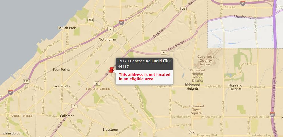 USDA Loan Eligiblity Maps From - Euclid, OH