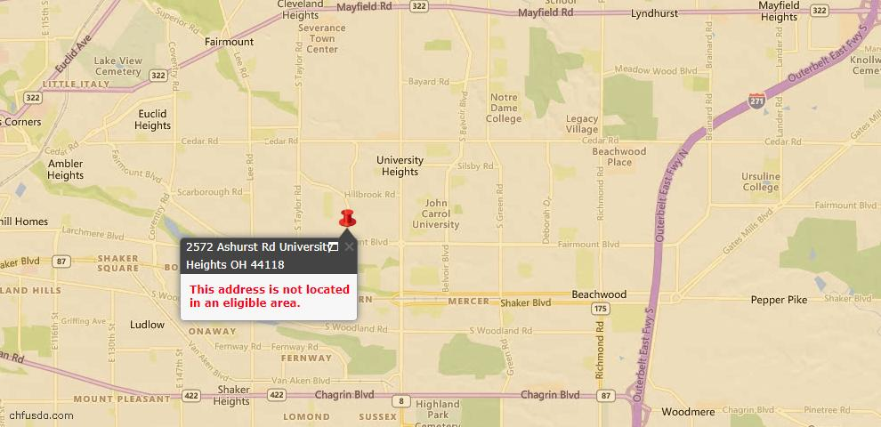 USDA Loan Eligiblity Maps From - University Heights, OH