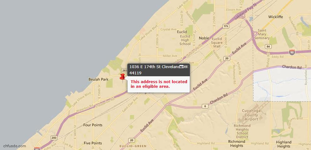 USDA Loan Eligiblity Maps From - 44119, OH