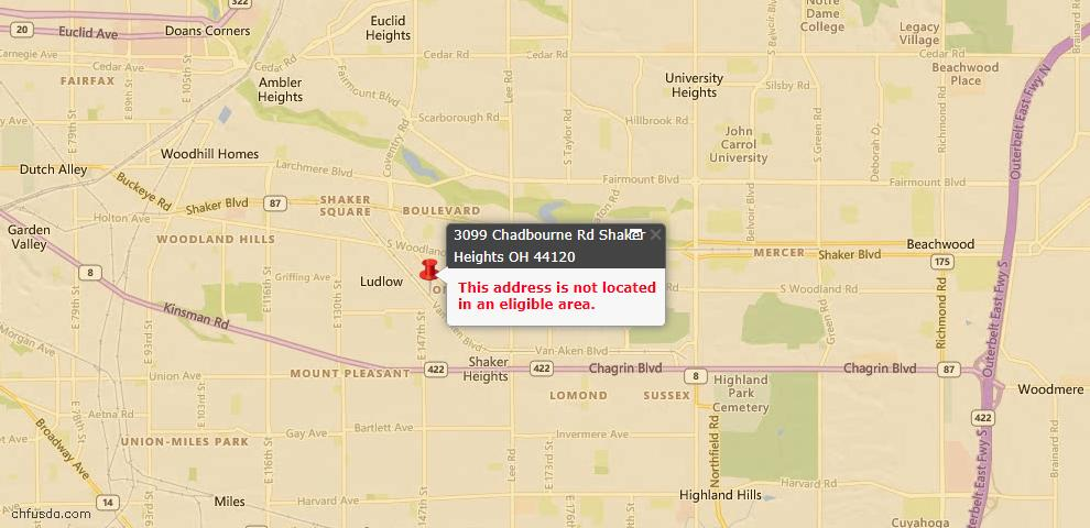 USDA Loan Eligiblity Maps From - Shaker Heights, OH