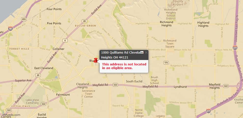 USDA Loan Eligiblity Map - 1000 Quilliams Rd, Cleveland Heights, OH 44121