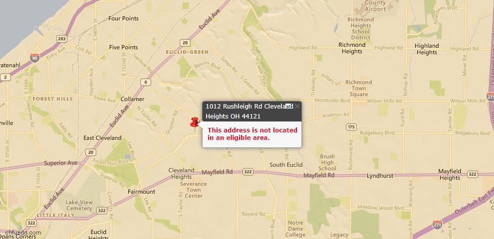 USDA Loan Eligiblity Map - 1012 Rushleigh Rd, Cleveland Heights, OH 44121