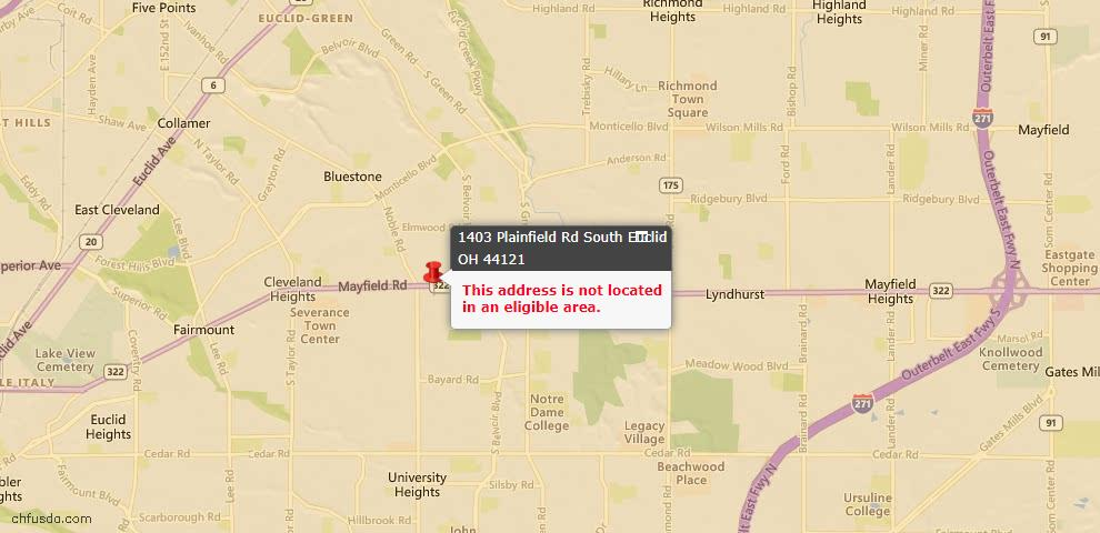 USDA Loan Eligiblity Maps From - South Euclid, OH