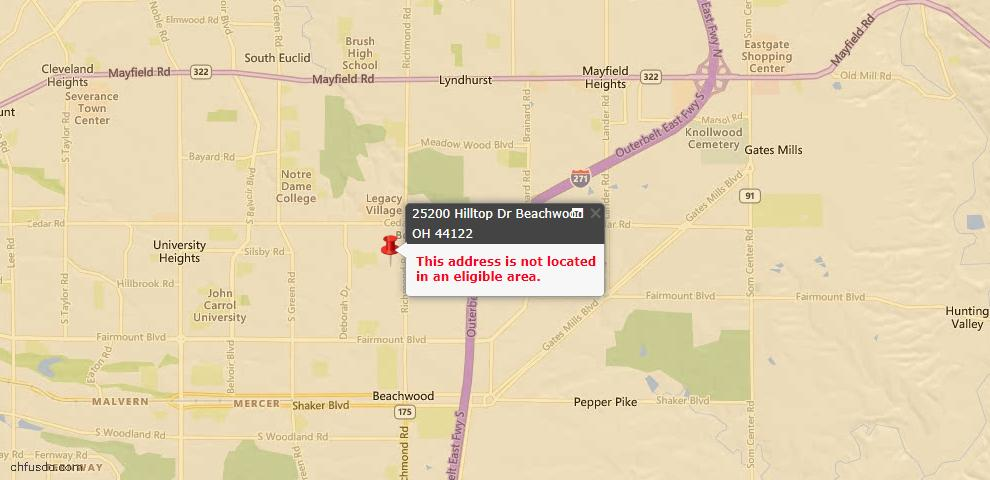 USDA Loan Eligiblity Maps From - Beachwood, OH