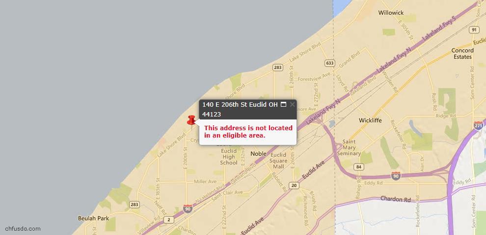 USDA Loan Eligiblity Map - 140 E 206th St, Euclid, OH 44123