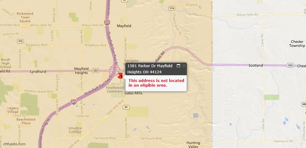 USDA Loan Eligiblity Maps From - Mayfield Heights, OH