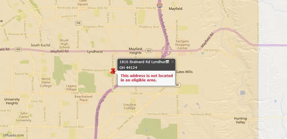 USDA Loan Eligiblity Map - 1816 Brainard Rd, Lyndhurst, OH 44124
