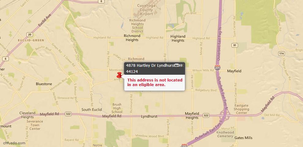 USDA Loan Eligiblity Maps From - Lyndhurst, OH
