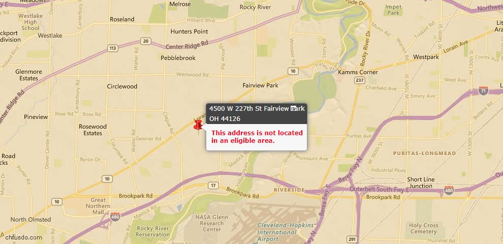 USDA Loan Eligiblity Maps From - Fairview Park, OH