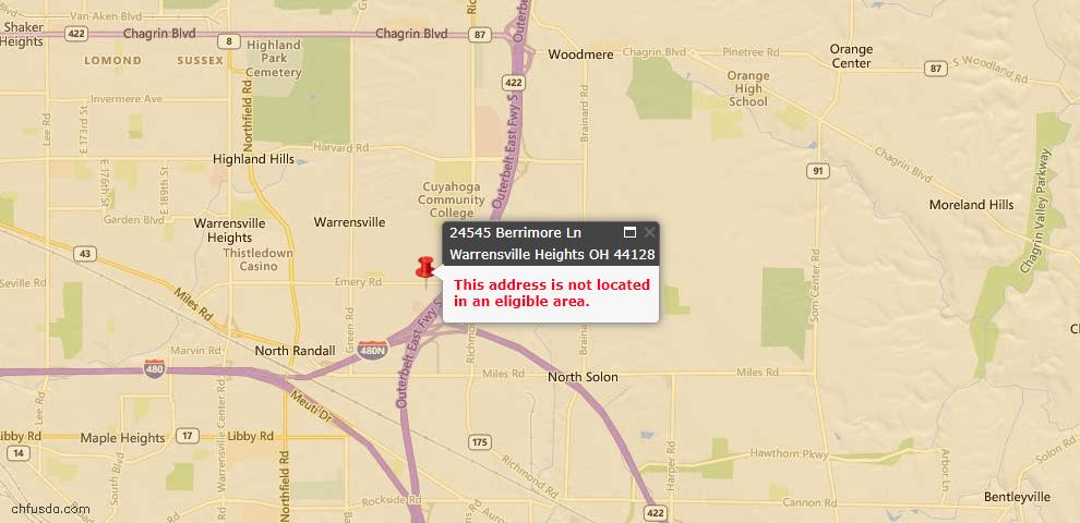 USDA Loan Eligiblity Maps From - Warrensville Heights, OH