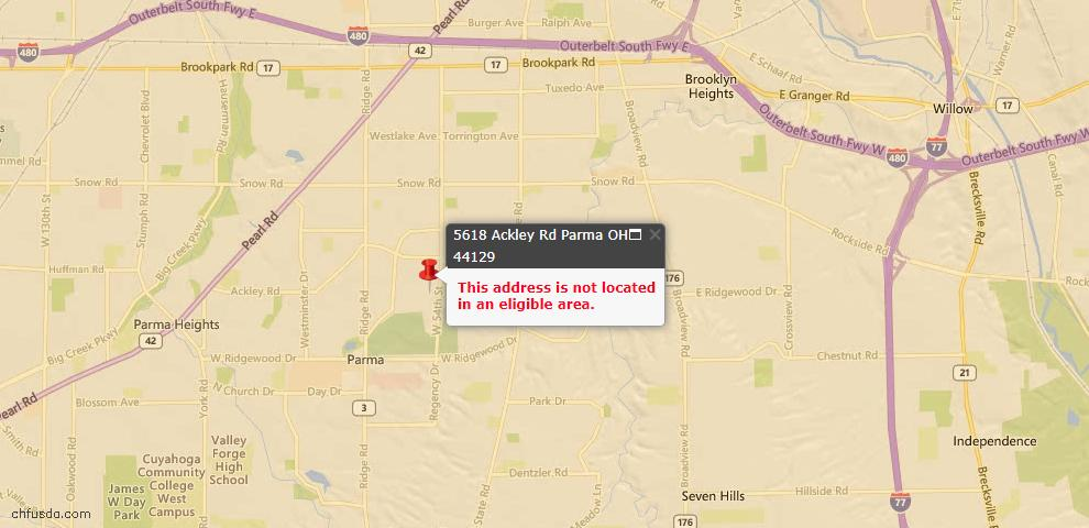 USDA Loan Eligiblity Maps From - 44129, OH