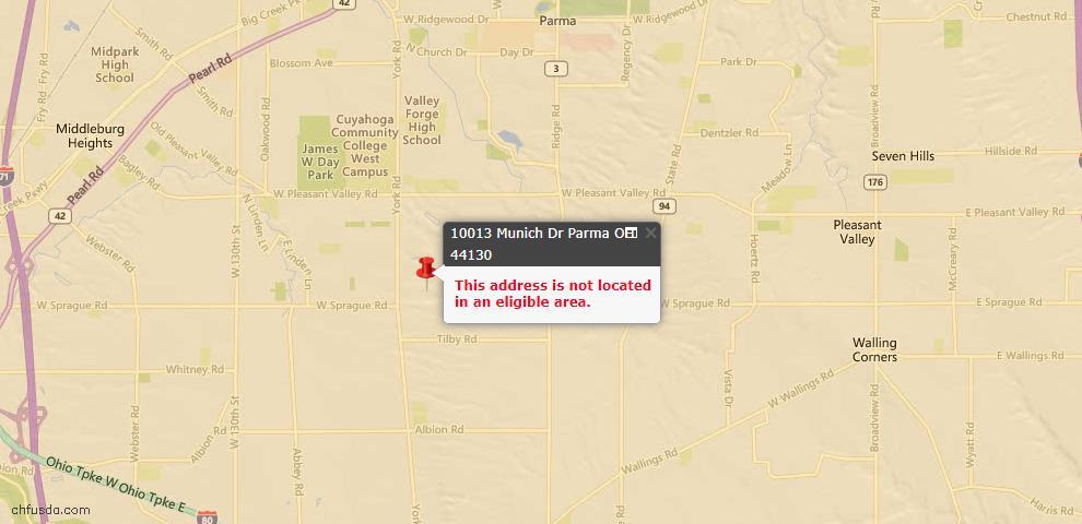 USDA Loan Eligiblity Map - 10013 Munich Dr, Parma, OH 44130