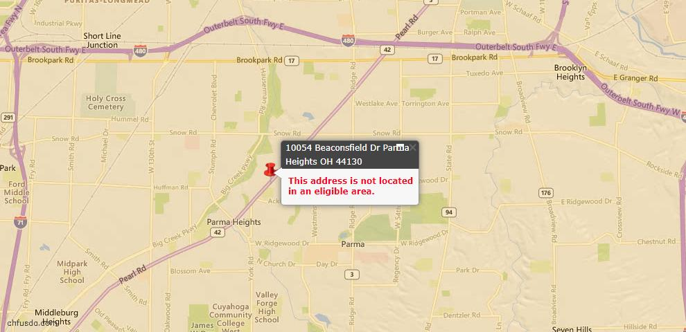 USDA Loan Eligiblity Map - 10054 Beaconsfield Dr, Parma Heights, OH 44130