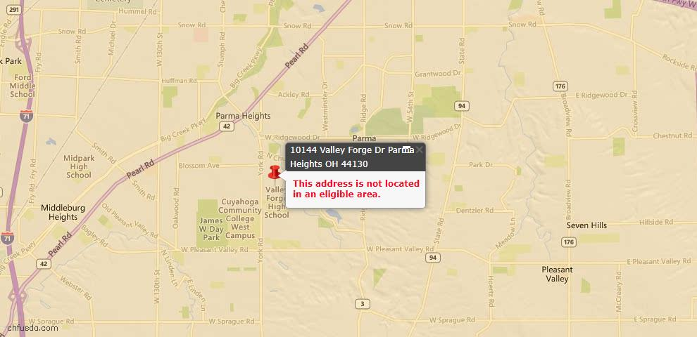 USDA Loan Eligiblity Map - 10144 Valley Forge Dr, Parma Heights, OH 44130