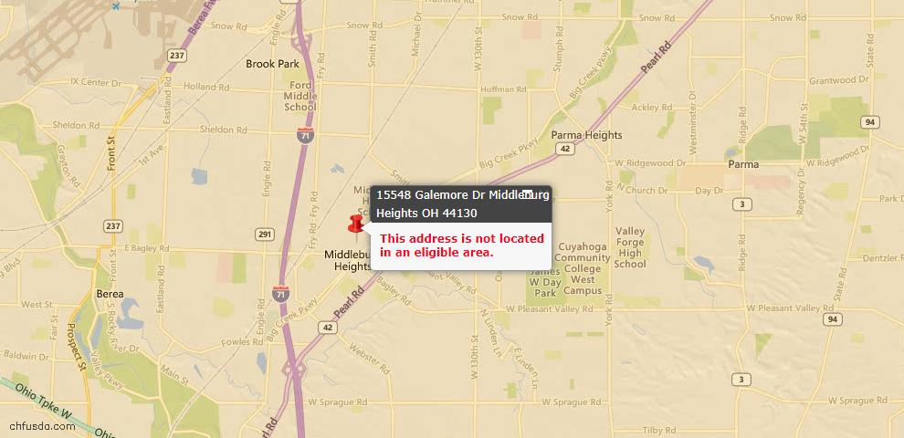 USDA Loan Eligiblity Maps From - Cuyahoga County, OH