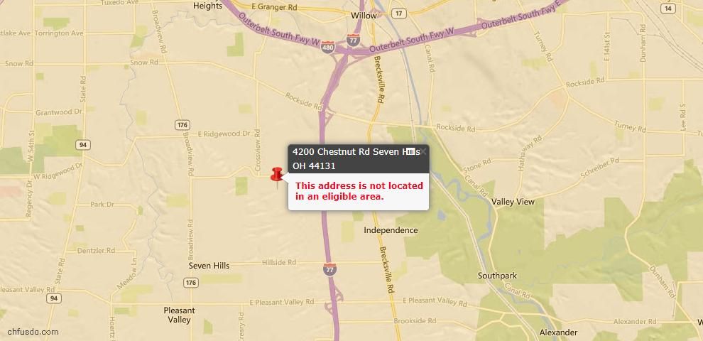 USDA Loan Eligiblity Maps From - Seven Hills, OH