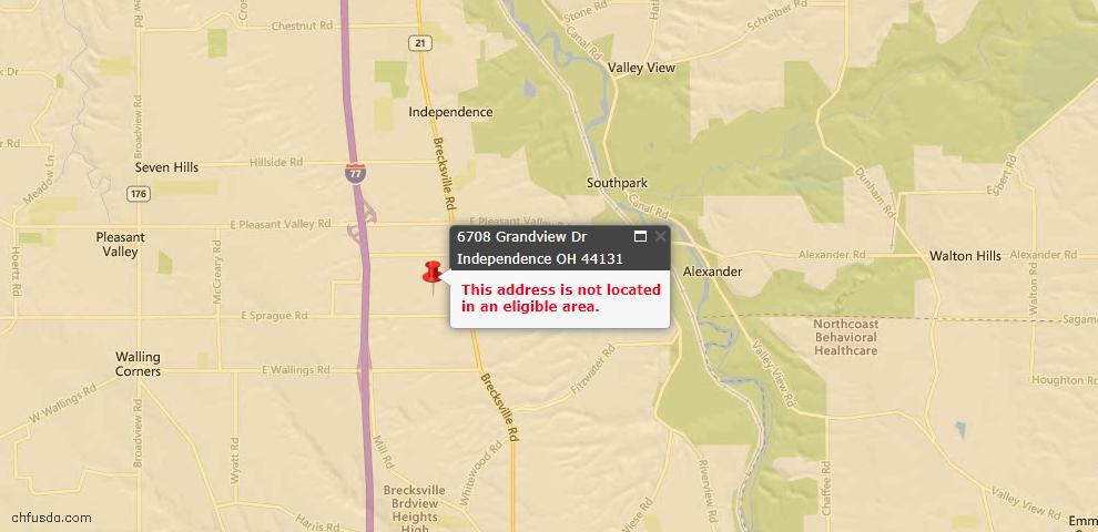 USDA Loan Eligiblity Maps From - Independence, OH