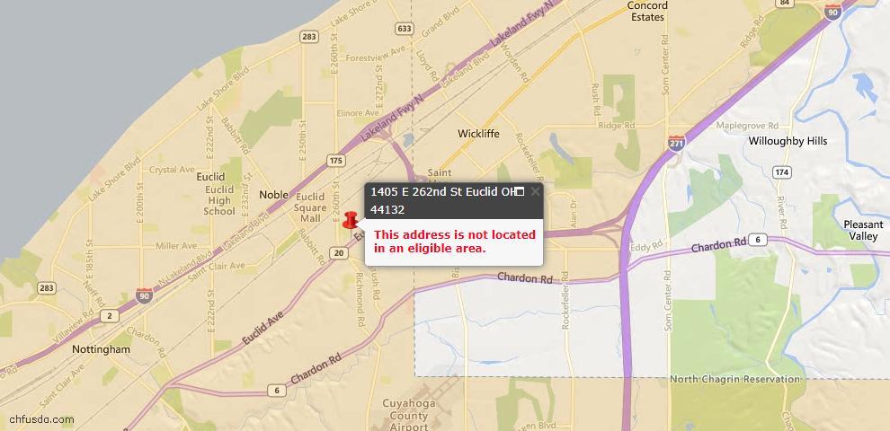 USDA Loan Eligiblity Map - 1405 E 262nd St, Euclid, OH 44132