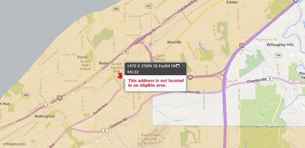 USDA Loan Eligiblity Map - 1470 E 256th St, Euclid, OH 44132