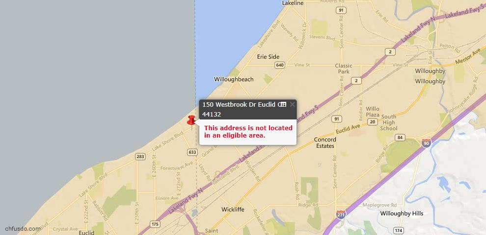 USDA Loan Eligiblity Map - 150 Westbrook Dr, Euclid, OH 44132