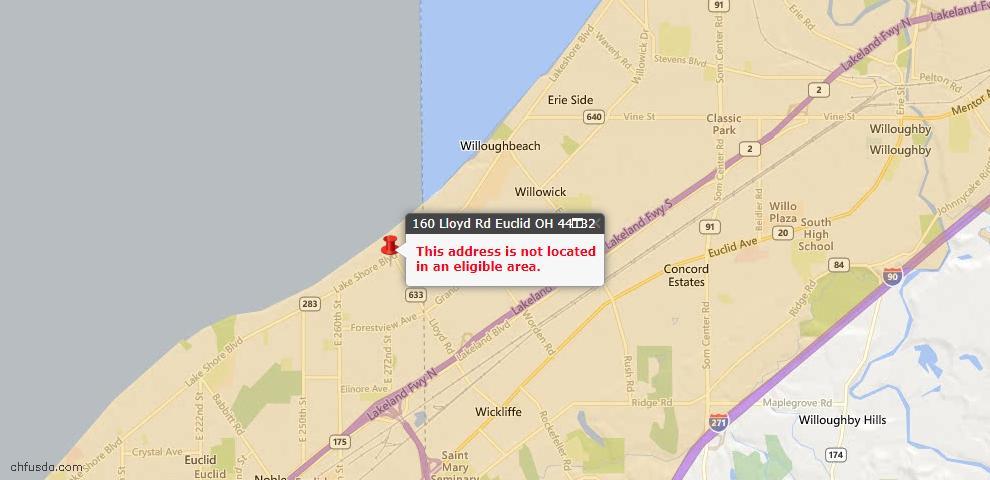 USDA Loan Eligiblity Map - 160 Lloyd Rd, Euclid, OH 44132