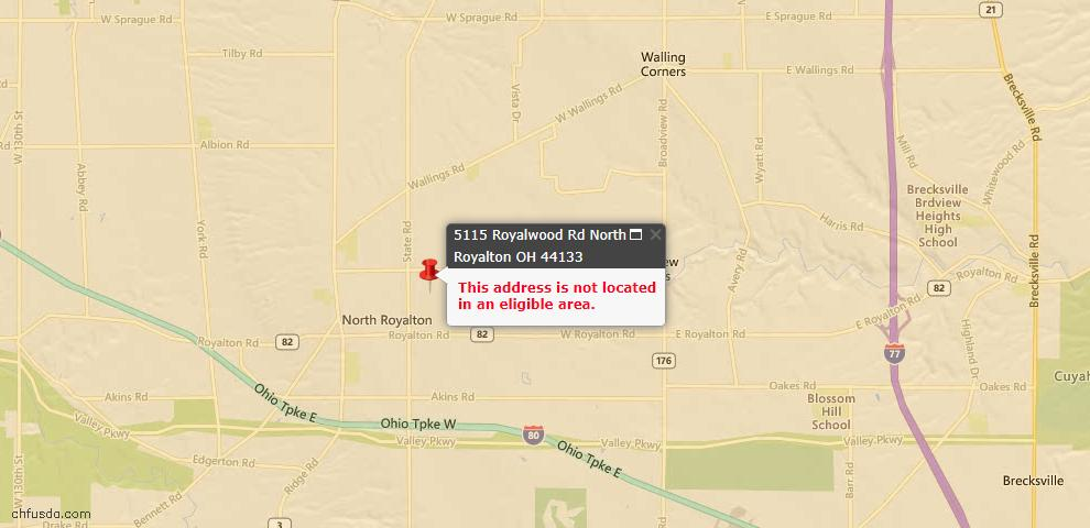 USDA Loan Eligiblity Maps From - 44133, OH