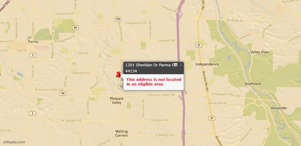 USDA Loan Eligiblity Map - 1201 Sheridan Dr, Parma, OH 44134