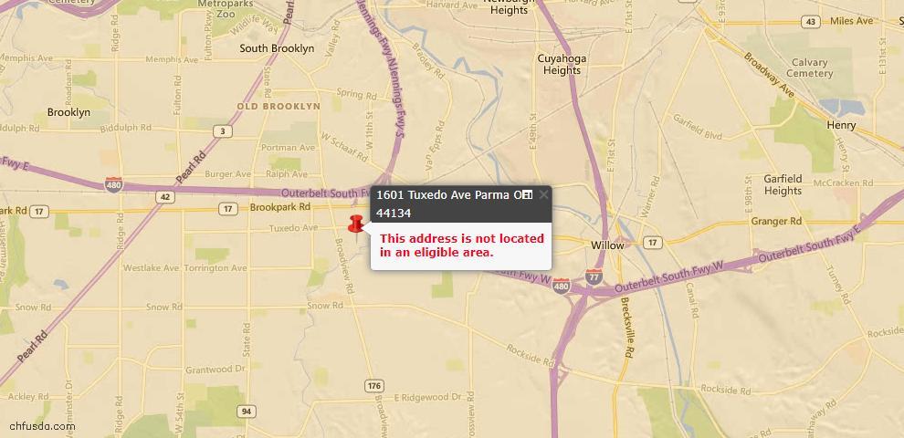USDA Loan Eligiblity Map - 1601 Tuxedo Ave, Parma, OH 44134