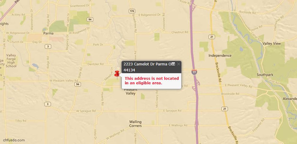USDA Loan Eligiblity Map - 2223 Camelot Dr, Parma, OH 44134
