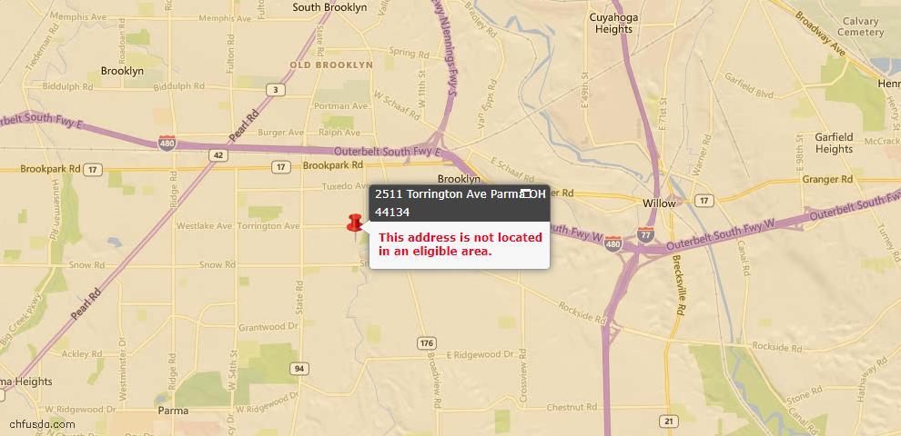 USDA Loan Eligiblity Map - 2511 Torrington Ave, Parma, OH 44134