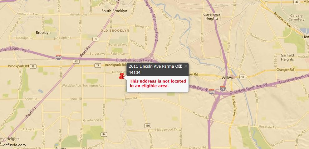 USDA Loan Eligiblity Map - 2611 Lincoln Ave, Parma, OH 44134