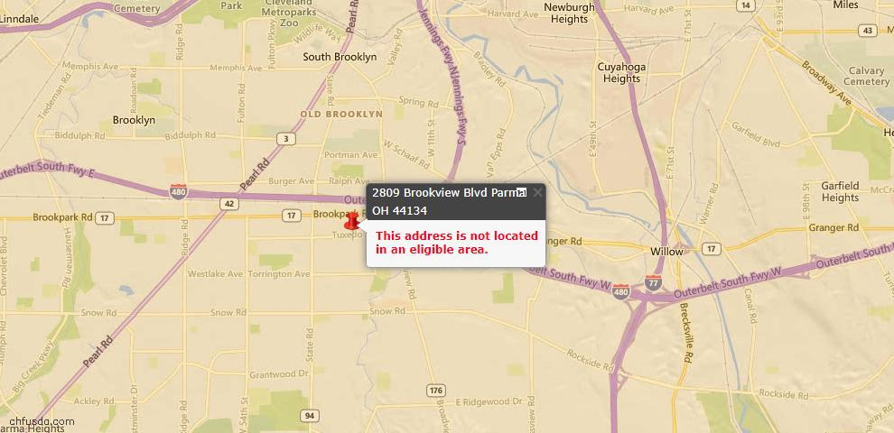 USDA Loan Eligiblity Map - 2809 Brookview Blvd, Parma, OH 44134
