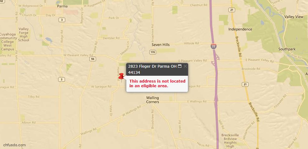 USDA Loan Eligiblity Map - 2823 Fleger Dr, Parma, OH 44134