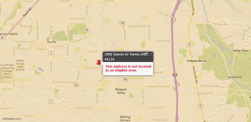 USDA Loan Eligiblity Map - 2900 Jeanne Dr, Parma, OH 44134