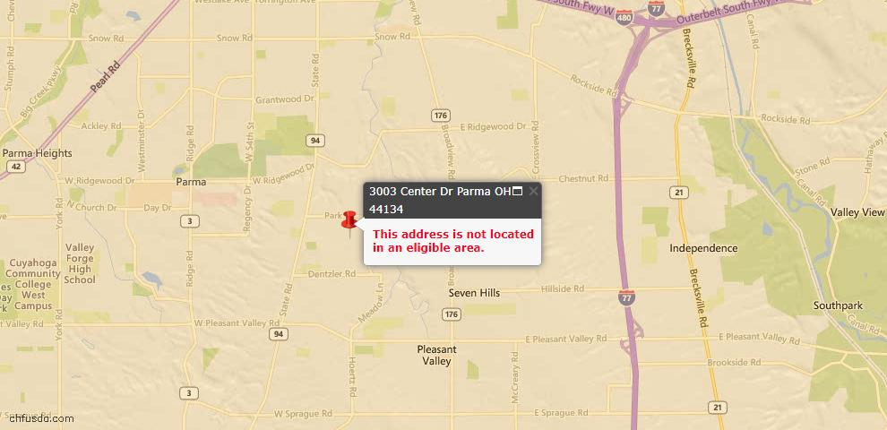 USDA Loan Eligiblity Map - 3003 Center Dr, Parma, OH 44134