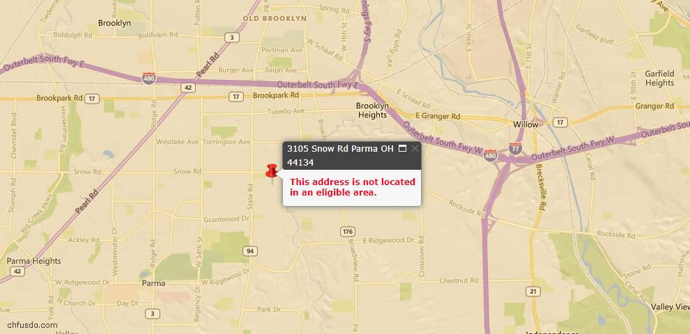 USDA Loan Eligiblity Map - 3105 Snow Rd, Parma, OH 44134