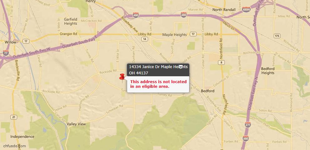 USDA Loan Eligiblity Maps From - Maple Heights, OH