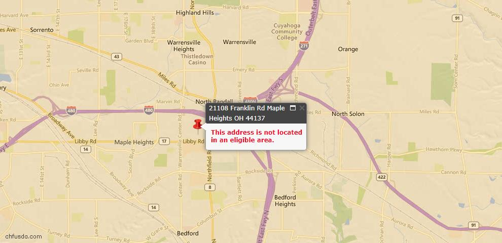 USDA Loan Eligiblity Maps From - 44137, OH