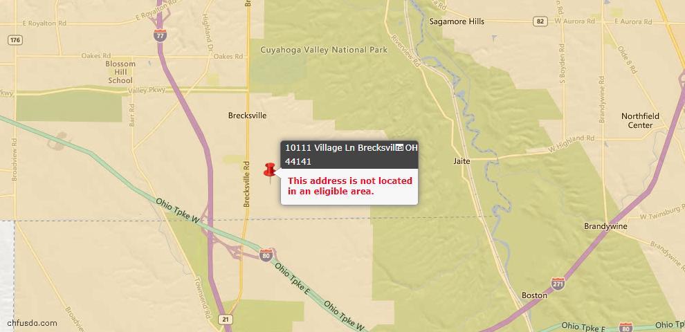 USDA Loan Eligiblity Map - 10111 Village Ln, Brecksville, OH 44141