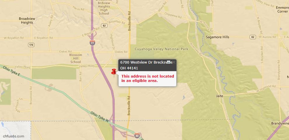 USDA Loan Eligiblity Maps From - Brecksville, OH