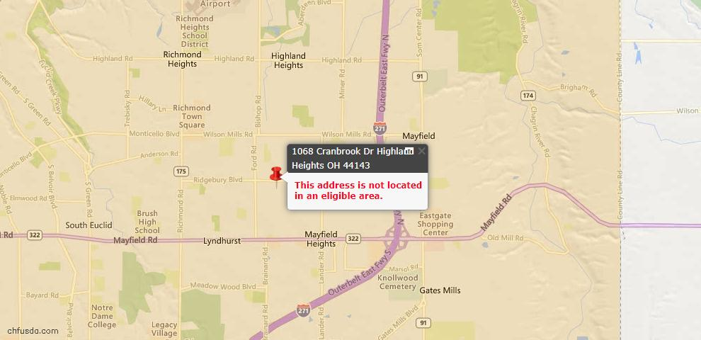 USDA Loan Eligiblity Maps From - Highland Heights, OH