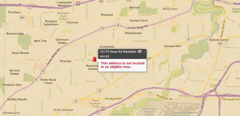 USDA Loan Eligiblity Maps From - Westlake, OH