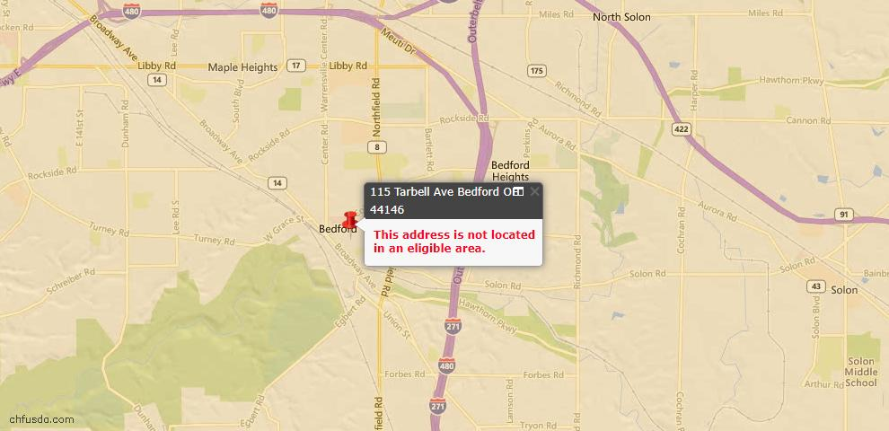 USDA Loan Eligiblity Maps From - Bedford, OH