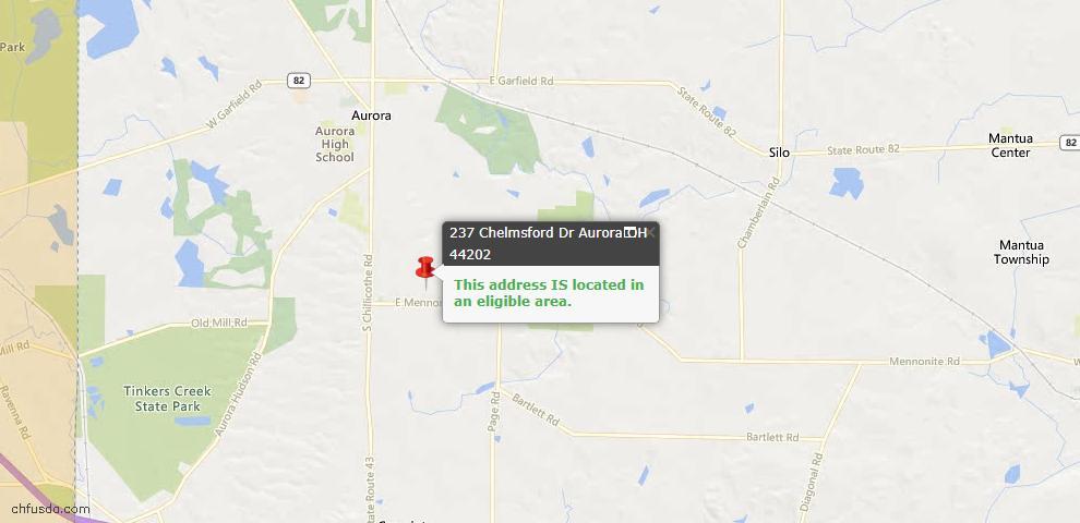 USDA Loan Eligiblity Maps From - Aurora, OH