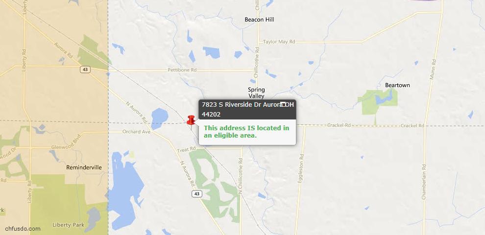 USDA Loan Eligiblity Map - 7823 S Riverside Dr, Aurora, OH 44202