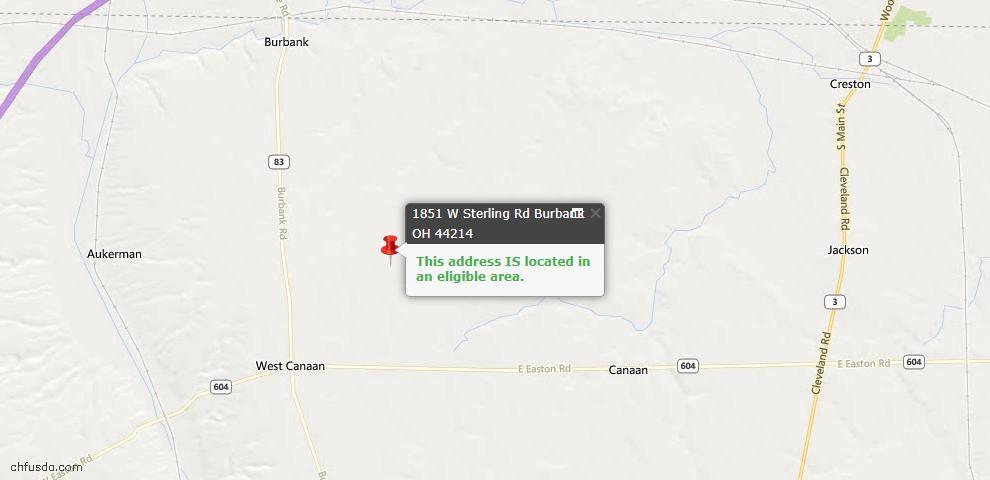 USDA Loan Eligiblity Maps From - Burbank, OH