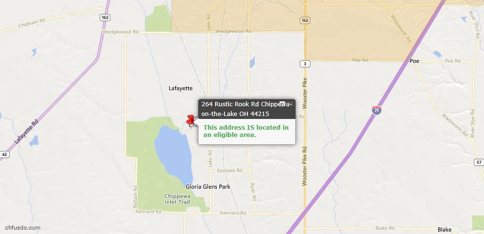 USDA Loan Eligiblity Maps From - Chippewa Lake, OH