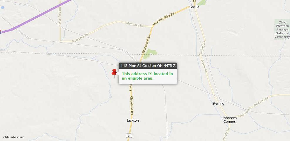USDA Loan Eligiblity Maps From - Creston, OH
